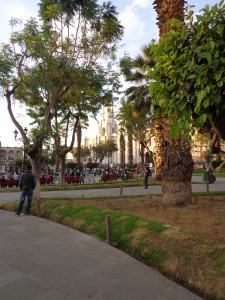 Arequipa Plaza de Armas with Colonades and Cathedral